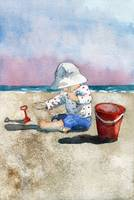 Beach Play, watercolor painting
