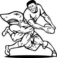 Rugby player passing ball tackled by shark