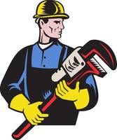 plumber repairman holding monkey wrench