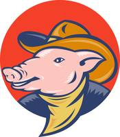 pig with cowboy hat and bandana