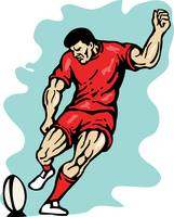 rugby player kicking the ball