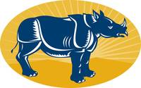 rhinoceros side view woodcut