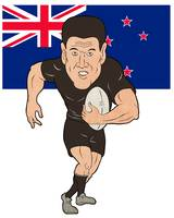 Rugby player running ball New Zealand flag
