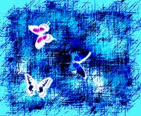 3 Butterflies On Blue Abstract