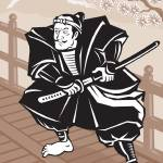 """Japanese Samurai warrior sword on bridge"" by patrimonio"
