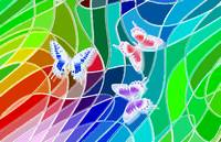 Three Butterflies On Stained Glass Abstract 2