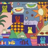 Cat Family Art Prints & Posters by Carey Scott