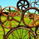 """Wagon Wheel Art Fence"" by beawesomenow"