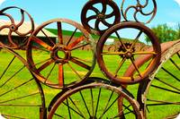 Wagon Wheel Art Fence