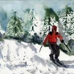 """Snow Scene Skier, Alpine Mountain"" by schulmanart"