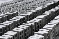 Rows of Concrete Bricks Drying