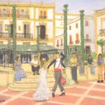 """Dancing in the Plaza de Espana - Ronda Spain"" by JackMckenziesArt"