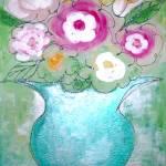 """""""Bright Blue Pedastal Vase & Flowers"""" by cupcakeartstudio"""