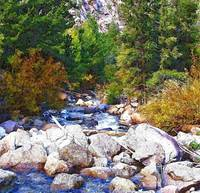 big rocks in stream watercolor