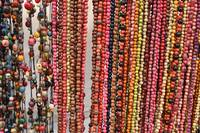 Colorful Strands of Tagua Beads at the Market