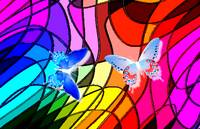 2 Blue Butterflies On Stained Glass Abstract