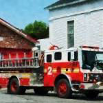 """Fire Engine In Front Of Fire Station"" by susansartgallery"