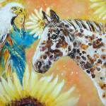 """Eagle Horse Golden Abundance of Joy and Inner Free"" by ArtSamadhi"