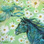 """From Joy I Came For Joy I Live green horses FA"" by ArtSamadhi"