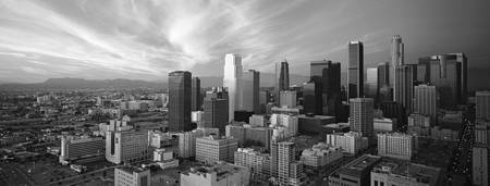Example of Los Angeles Black and White skyline in perspective on angled canvas