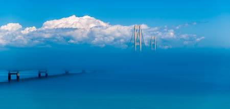 Mackinaw Bridge in Fog