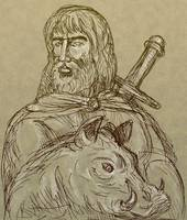 Norse god of agriculture with sword and boar