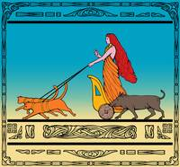 Freya Norse goddess riding chariot cat boar