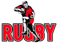 Rugby player running  fending off