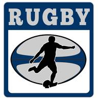 rugby player kicking ball