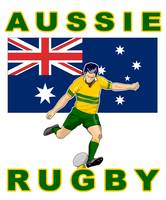 Rugby player kicking australia flag