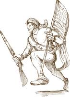 american revolutionary carrying flag