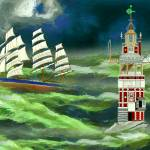 Eddystone Lighthouse and a Clipper Ship in a Storm