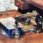 """Sewing Machine Circa 1850"" by susansartgallery"