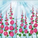 """hummingbirds & hollyhocks"" by sarahkdesigns"