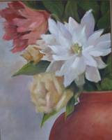 Flowers in Clay Vase