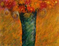 Orange Flowers in Turquoise Vase