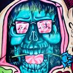 """Graffiti of the Hallucinogenic Blue Skull"" by yurix"