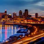 """""""Saint Paul Night Skyline Reflections"""" by GregLundgrenPhotography"""