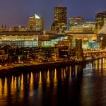 """Saint Paul Riverfront at Night - Panorama"" by GregLundgrenPhotography"