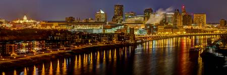 Saint Paul Riverfront at Night - Panorama