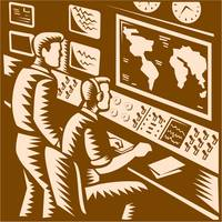Control Room Command Center Headquarter Woodcut