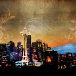"""Seattle Skyline"" by Corinagallery"
