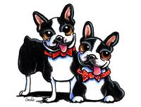 Merry Gentlemen Boston Terriers Off-Leash Art™