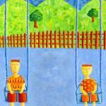"""""""Two Boys on Swings"""" by julienicholls"""