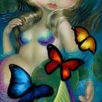 """mermaidwithbutterfliesprintbig"" by strangeling"