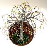 """Beaded on Round Base - Wall Art Sculpture"" by WireTrees"
