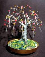Beaded Oak, wire tree sculpture