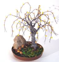 Beaded in Brass Base - Wire Tree Sculpture