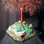 """MYSTICAL ISLAND - Beaded Wire Tree Sculpture"" by WireTrees"