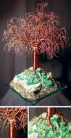 MYSTICAL ISLAND - Beaded Wire Tree Sculpture